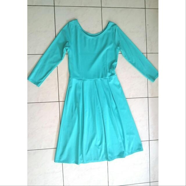Turquoise Plain Dress