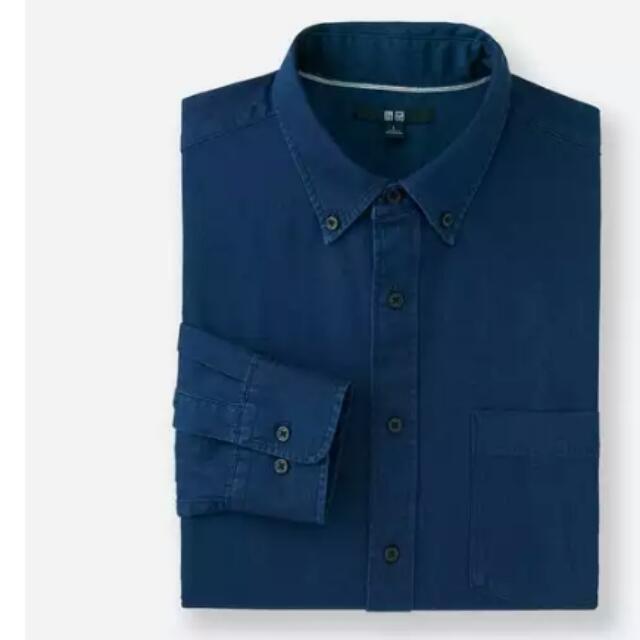 uniqlo 男裝牛仔長袖襯衫 深藍色