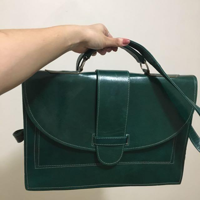 Vintage Green Satchel Bag
