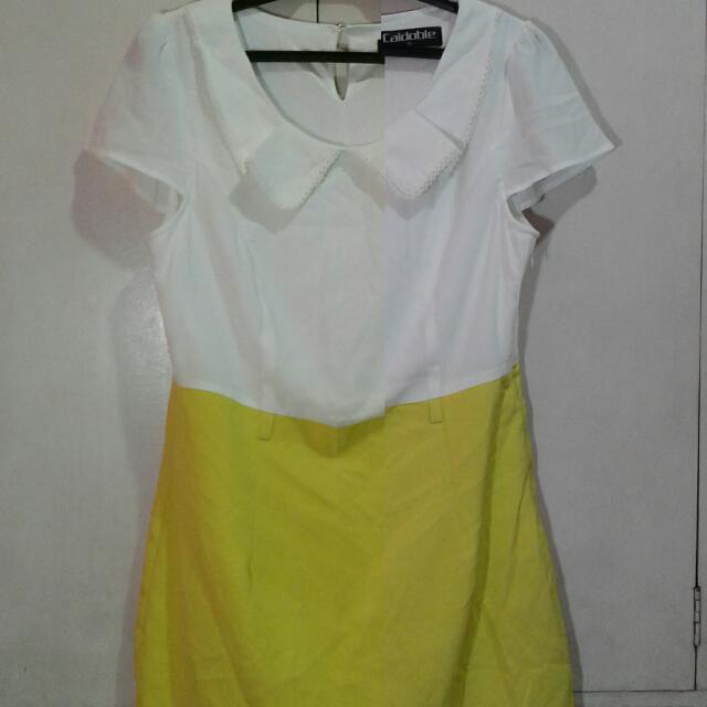 White&yellow Formal Dress