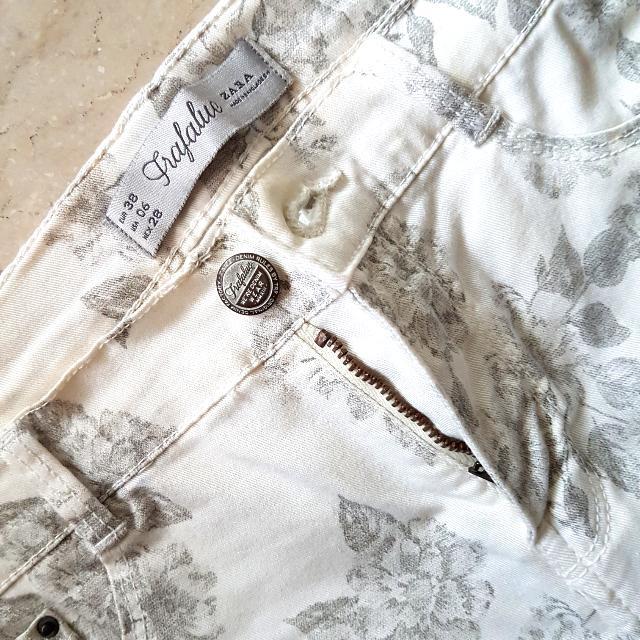 Zara Trafaluc Floral Skinny Pants Jeans