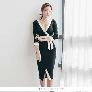 Black And White Wrap Design Dress