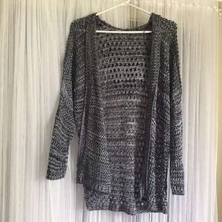 Open Knit Hooded Cardigan