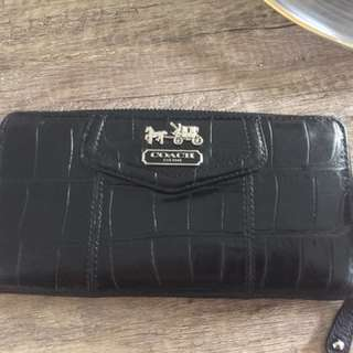 Authentic Coach Full Zip Crocodile Wallet