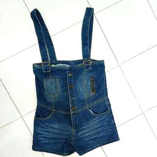 overall jeans baju monyet