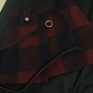 酒紅色格紋氣質窄裙