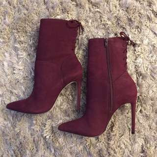 Burgundy High Heeled Booties