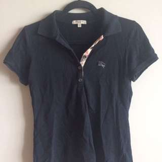 Black Burberry Polo - Size Small