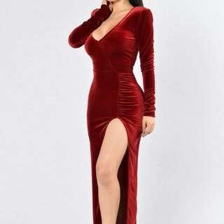 Red Velvet High Split Fashion nova Dress