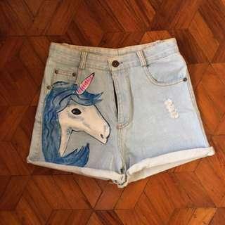 Light Denim Unicorn Highwaisted Shorts