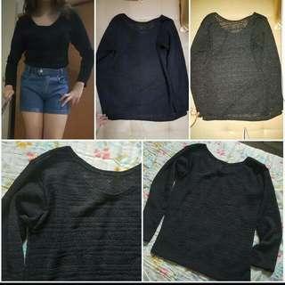 Black Knitted Long Sleeves Top