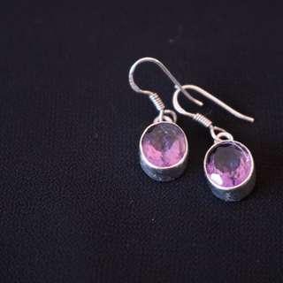 Sterling Silver Purple Dangle Earrings