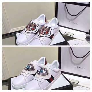 GUCCI Ace Embroidered Sneakers W/ Patch