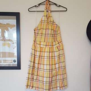 Ladies Size 14-16 Yellow Halter Sundress