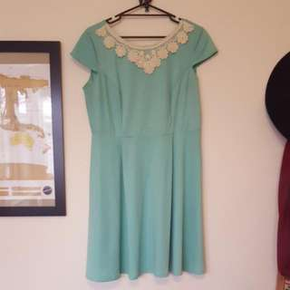 Ladies 16 Mint Green Dress With Lace Detail