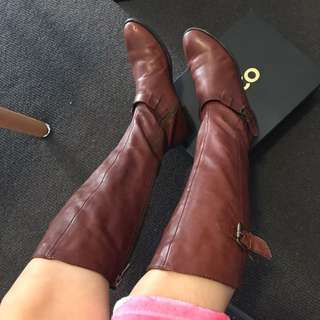 Quilted Brown Leather Boot