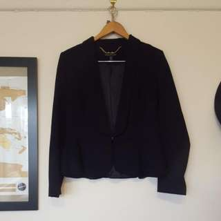 Ladies 14 Forever New Navy Blue Peplum Jacket