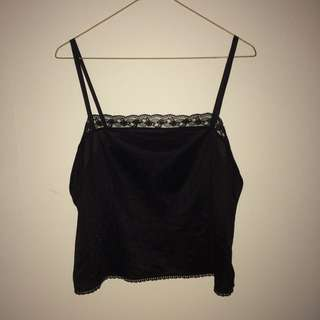 Black Lace Singlet Top