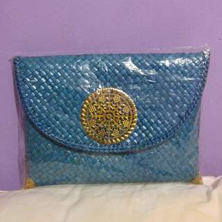 Turquoise Rattan Clutch