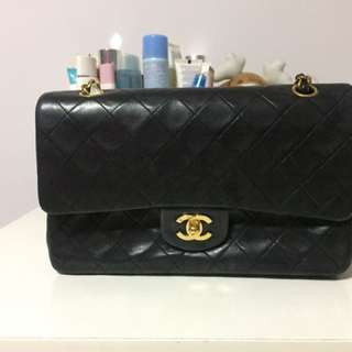 Authentic Chanel 2.55 10 Inch Classic Lambskin Double Flap Bag With 24k Gold Hardware