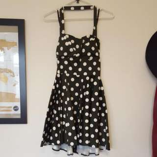 Ladies 12 Halter Neck Polka Dot Flare Dress