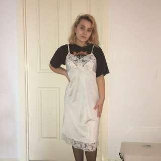 Vintage Lingerie White Slip Dress