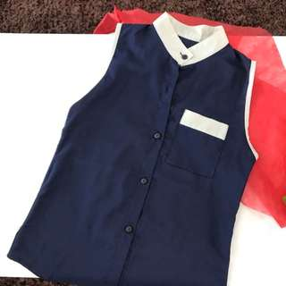 Fashion Navy Smart Blouse
