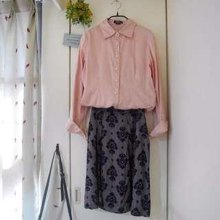 👇🏻降價👇🏻<私物>Wanko 專櫃粉色珠釦長袖襯衫 #爸爸節八折