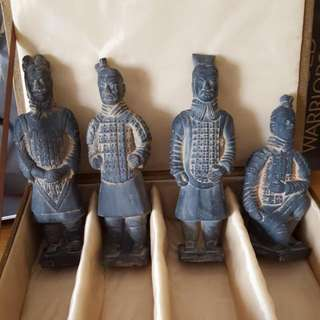 Set Of 4 Miniature Ceramic Terracotta Warriors