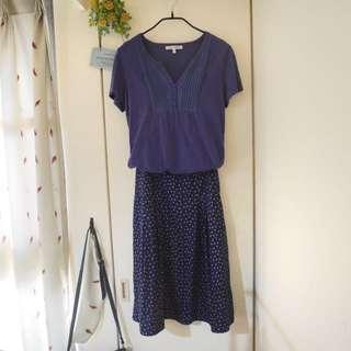 👇🏻降價👇🏻<私物>英國專櫃Laura Ashley 紫色碎花口袋打褶傘狀中長裙 #爸爸節八折