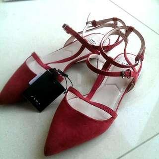 Zara Trafaluc Raspberry Red Flats