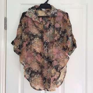 Cotton On Floral Chiffon Top Size M