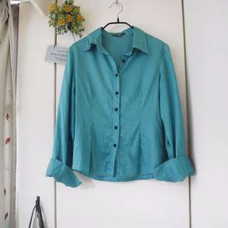 👇🏻降價👇🏻<私物>Wanko  專櫃藍綠色珠釦長袖襯衫 #爸爸節八折