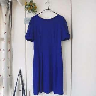 <私物>歐薇 寶藍色公主袖透視金釦洋裝 #爸爸節八折