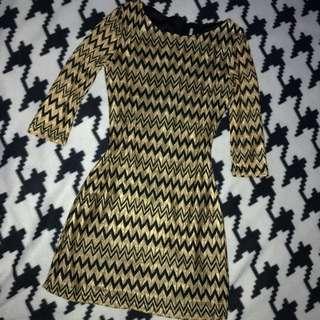 Glistening Gold & Black Dress Size 6-8