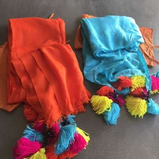 Pashminas With Colourful Pom Poms