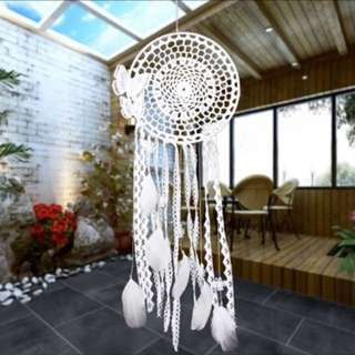 Handmade White Wind Chimes Butterfly Dream Catcher Feather Bead Dreamcatcher For Window/Car/ Wall Hanging Decoration Ornament