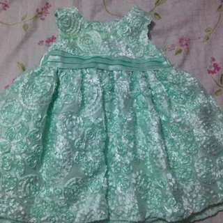 MINT GREEN DRESS WITH FLOWERS