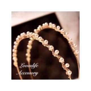 🚚 (現貨新貨) 韓版氣質珍珠水晶髮箍 單件