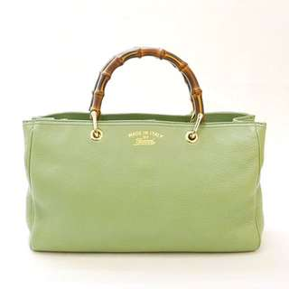 💯%Authentic Gucci Bambo Medium Tote Bag In Pastel Green Calf Leather