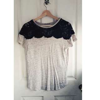 Beige ZARA T-shirt with black lace