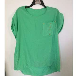 M-011 Blue Green Blouse