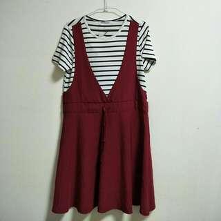🚚 [全新含運] TOKYOFAHION  黑白條紋 酒紅裙 洋裝 東京著衣   #十月女裝特賣