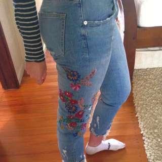 Zara Embroidered Boyfriend Jeans