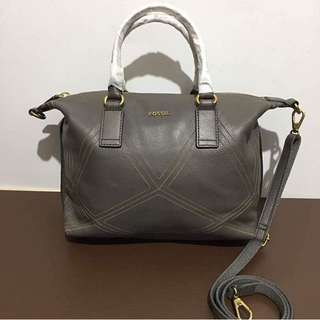 Fossil Lucy Satchel Lead Leather