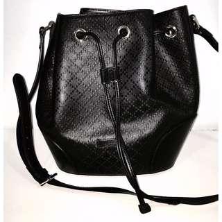 Gucci Bright Diamanté Leather Bucket Bag, Black