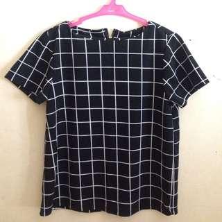 Black Grid Top