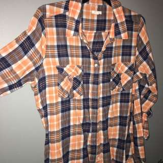 Orange Plaid Open Back Shirt Size 16