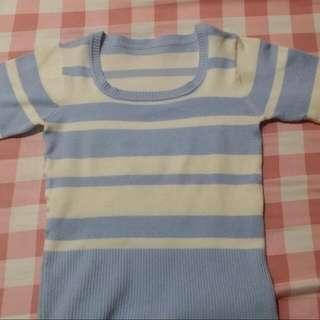 Sweater Stripe design Biru dan Putih (wanita)