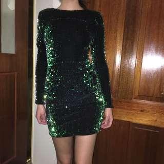 Motel Rocks Green Sequinned Long Sleeve Dress